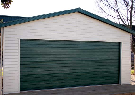 Garages with sectional doors.