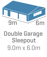 Double Garage Sleepout 9.6m x 6m